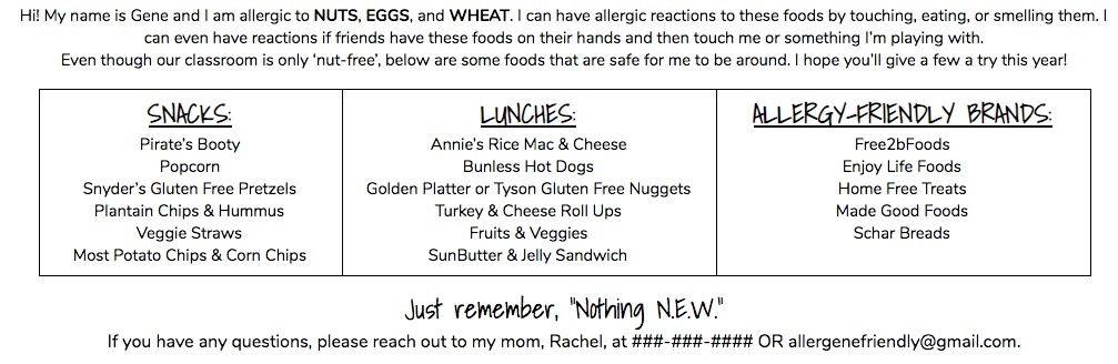 Back to School Class Allergy Handout