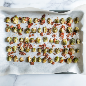 sheet pan roasted bacon parmesan brussels sprouts